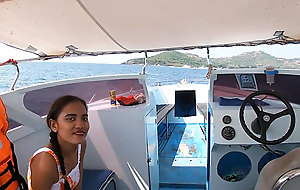 Rented a boat for a day and had copulation on rolling in money connected with Asian teen GF