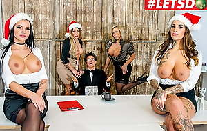 LETSDOEIT Christmas Office Sex With Mia Blow & Executives PART 1