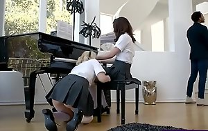 Two cute teens drilled immutable at the end of one's tether a black piano teacher