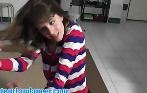 Lapdance, bj, and fingering near slurps lawful age teenager