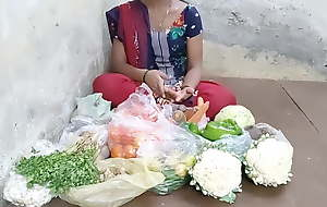 Indian girl selling vegetables hard fucking in the return pl