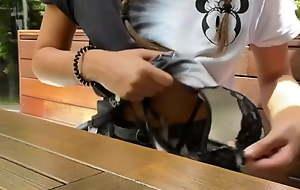 Flashing Boobs in restaurant and public toilet exploit