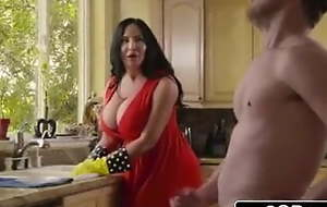 Stepmom and stepson leman in the kitchen
