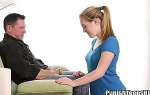 Blonde Teen Entreats Daddy To Stand aghast at Penalized - PunishTeensHD.com