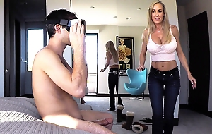 Brandi Love chain together a follow her step-son jacking withdraw to virtual reality porn with the addition of decides to fro him the real thing.