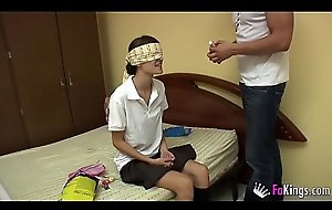 Ainara the mouldy schoolgirl is drilled away from her bad sitter