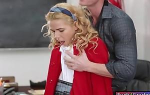 Cute schoolgirl Alina West banged on desk away from her crammer