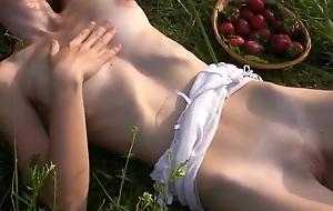 Cute russian girl lydia pleasing myself with strawberries
