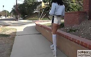 Petite legal age teenager in brutal anal hookup with random man
