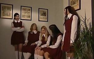Czech legal age teenager gals get their butts flogged