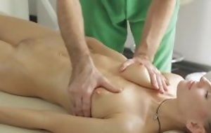 Masseur does curious rub down to youthful lady, then she sucks his dick in blowjob act together with they fuck in nice hardcore sex act!