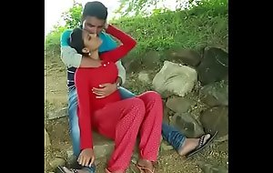 Teen girl romance with boyfriend in park