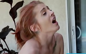 Petite redhead Kandi Quinn is friendly back huge dicks
