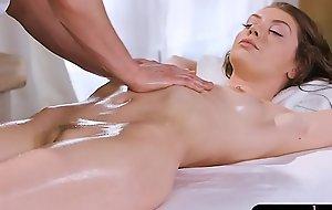 Petite brunette babe screwed by masseur