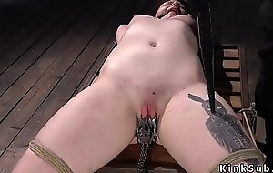Red skinned slave shocked and fingered