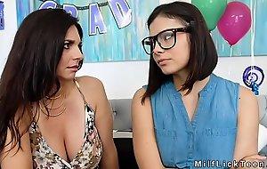 Teen licks moms bosomy Milf friend