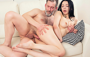 Experienced but halcyon strong man pushes his dick deep into a mint throat and pussy of his younger brunette girlfriend unfamiliar behind.
