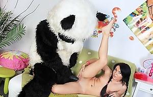 Sexy chick copulates with beamy plush bear