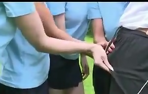 Four British Schoolgirls are very with an eye with reference to to their PE teacher