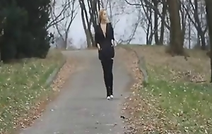 Blonde stripping and beaming her jugs in public forest