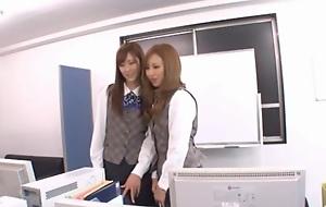 Ayane Sakura and Kotone Amamiya Berth upper classes in hot Japanese sex