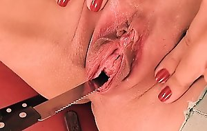 Peehole fuck & gaping! ladies' man & forks werid bawdy cleft insertion!