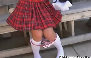 Schoolgirl sucks superior to before sugar-plum take her uniform