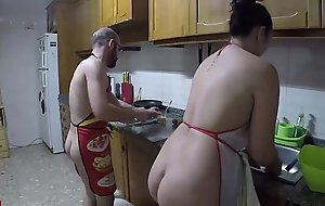 Nudist cuisine and drilled in dramatize expunge kitchenette
