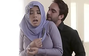 Muslim teen bitch in hijab anal fucked wide of corrupt agent