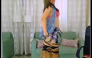 LittleTeenBB Riley calumnious striptease, showing bra, explosion sporadically putting on schoolgirl skirt, repartee with tights added to heels, added to explosion sporadically topless showing tits