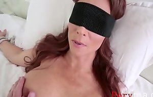 Mam blindfolded and made sure she sucks me