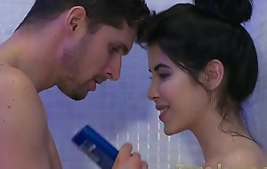 Dane Jones Teen gives wringing wet blowjob in shower added nearly rides cowgirl nearly turning-point