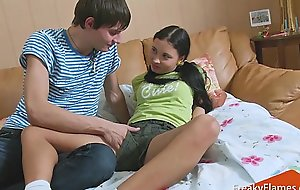 Interrupted youthful lolita stepsis to receive weenie in moist taut teen pussy pretty soon fuck