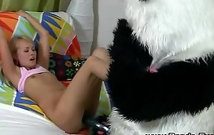 Fetish teen copulates plush panda
