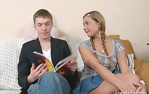 Teen blondy entices her step brother later that toddler is drilled