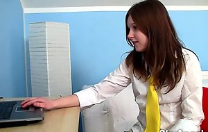 Shy angela - teeny masturbating with an increment of dildoing in...