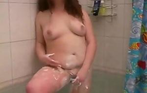 Chubby bbw college girl gf having a hot shower calumniate