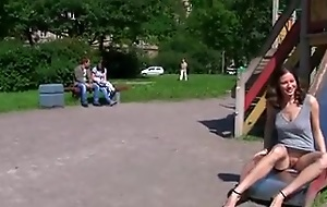 Horny Russian gf step off natural tits in public places
