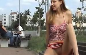 Youthful Russian babe's broach flashing
